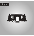 black and white style icon trailer in forest vector image vector image