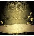 Black-gold vintage floral frame vector image vector image