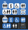 black white and blue public access icons set vector image