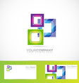 Blue green pink purple squares logo vector image vector image