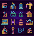building city neon icons vector image vector image