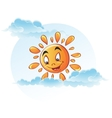 Cartoon image of sun in the clouds vector image