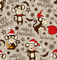 Christmas And New Year Seamless Pattern With Funny vector image vector image
