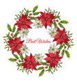 christmas and new year wreath with holly and vector image vector image