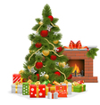 Christmas Tree with Fireplace vector image vector image