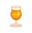 cold wheat beer in glass with stem alcoholic vector image