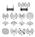 collection wifi and wireless signal wave vector image vector image