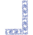 corner border floral swirls and flowers gzhel vector image vector image