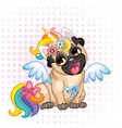 cute cartoon pug in costume unicorn vector image