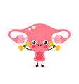 cute happy smiling uterus doing exercises vector image vector image