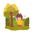 cute little boy in park tree leaves fall vector image