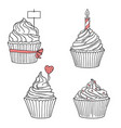decorated cupcakes for holidays greetings vector image