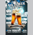 design poster for traditional beer festival vector image