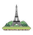 doodle eiffel tower with mountainsand trees vector image vector image