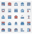 Flat building icons set vector image vector image
