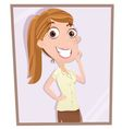 girl looking in mirror vector image vector image