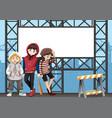 group of teen on urban billboard vector image