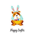 happy easter card dog wearing bunny costume vector image