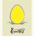 happy easter yellow egg greeting card and two vector image