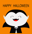 happy halloween count dracula white head face vector image