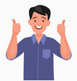 happy man shows thumb up gesture cool vector image vector image