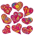 happy valentines hearts set vector image