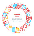 kitchen tools concept banner card circle vector image