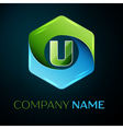 Letter U logo symbol in the colorful hexagonal on vector image