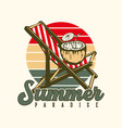 logo design summer paradise with coconut juice vector image