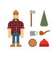 Lumberjack cartoon character with lumberjack icons vector image