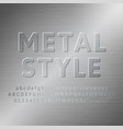 metal alphabet 3d font effect vector image
