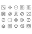 micro chip cpu simple black line icons set vector image