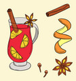 mulled wine in cartoon style vector image vector image