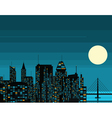 Night futuristic city with big moon vector image