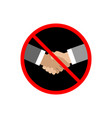 no handshake icon on white background vector image vector image
