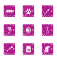 outlook icons set grunge style vector image vector image