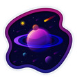 saturn planet solar system with stars futuristic vector image vector image