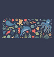 sea animals doodle ocean underwater inhabitants vector image