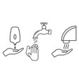 set hand washing procedure isolated on white vector image vector image