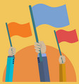 set hands holding up flags concept vector image vector image