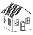 silhouette beautiful house with door window and vector image vector image