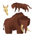 stone age animals mammoth and saber-toothed tiger vector image