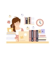 Stressed Woman Office Worker In Office Cubicle vector image vector image