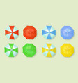 summer beach umbrella icon set vector image