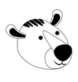 tiger cartoon head in black dotted silhouette vector image vector image