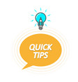 tips and tricks symbol - quick tips icon vector image