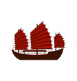 traditional chinese junk boat with red sails old vector image