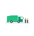 Truck with garbage container vector image vector image
