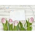 Tulip flowers on wood background EPS 10 vector image