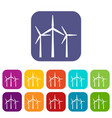 wind turbines icons set vector image vector image